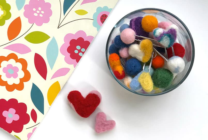 Hearts and round shapes made with a wool needle felting tutorial