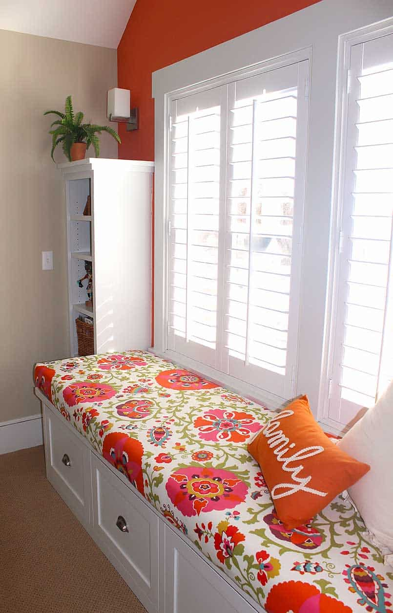 DIY bench seat fabric cushion cover in window seat with shutters