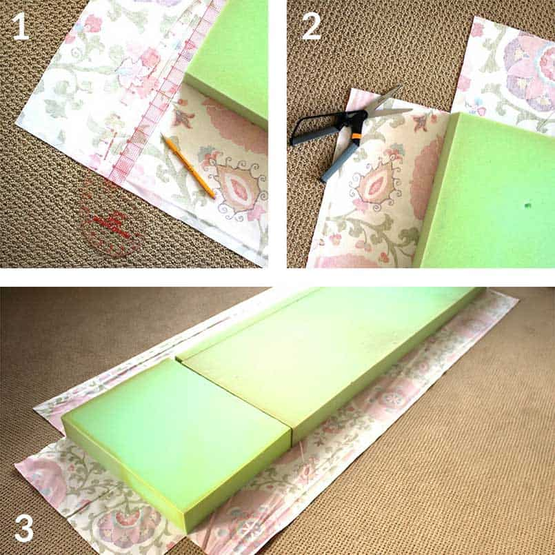 Step by step instructions for how to make a DIY bench seat cushion cover tutorial