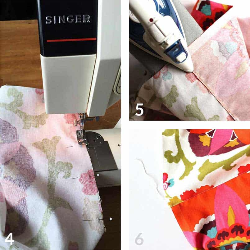Step by step instructions for how to sew and make a bench seat cushion cover