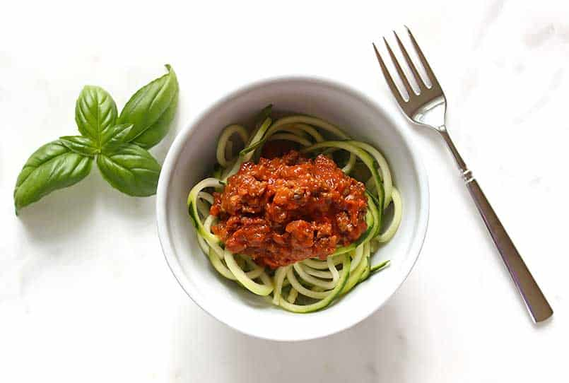 Healthy Homemade Spaghetti Sauce Recipe with Zoodles in a bowl ready to enjoy
