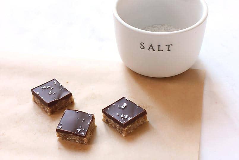 three healthy oatmeal bars with dark chocolate and sea salt - recipe