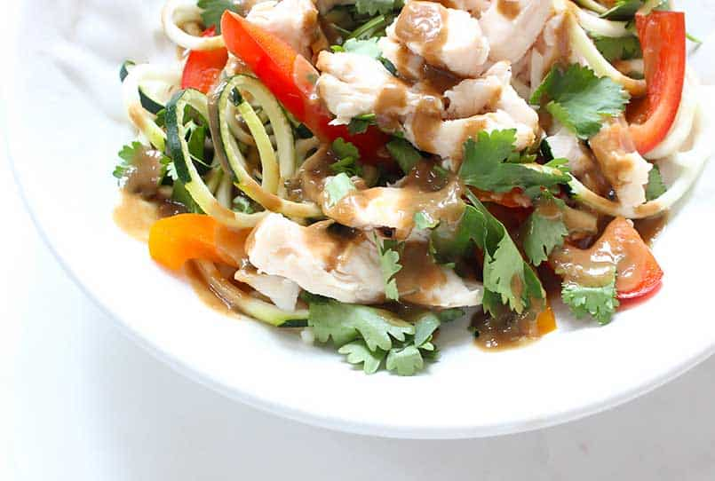 A colorful bowl full of spicy, thai peanut sauce with chicken and zoodle salad