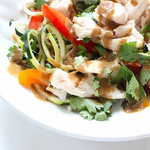 Zoodle Salad With Spicy Thai Peanut Sauce