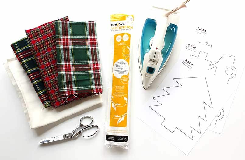 These are the supplies you need to make a no-sew, custom, DIY, holiday pillow!
