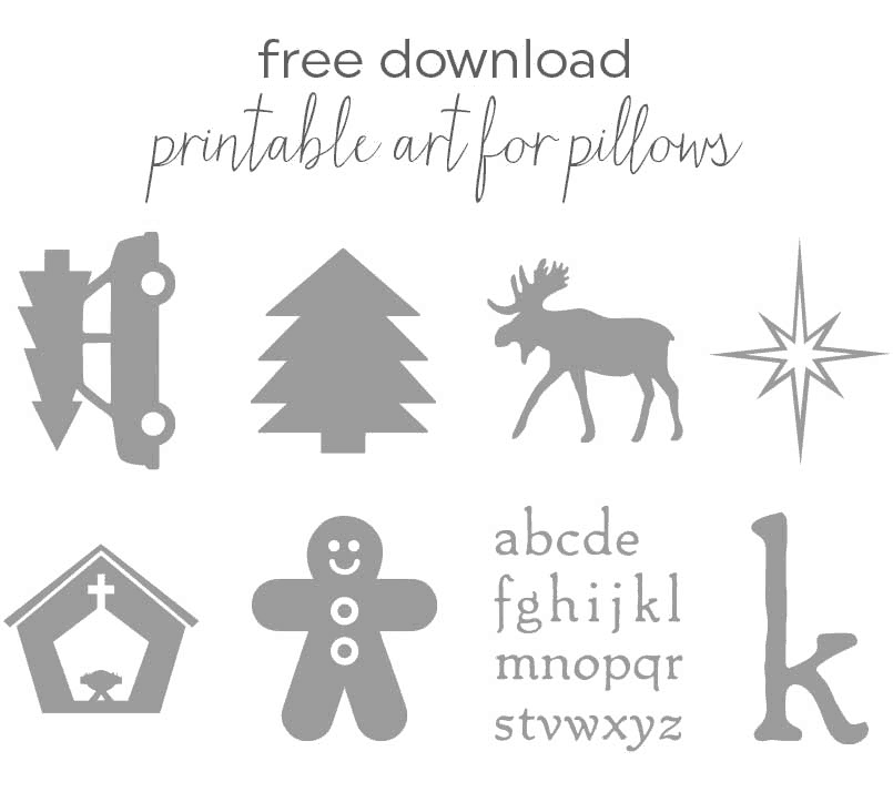 FREE graphics download to use for custom, no-sew, holiday pillow