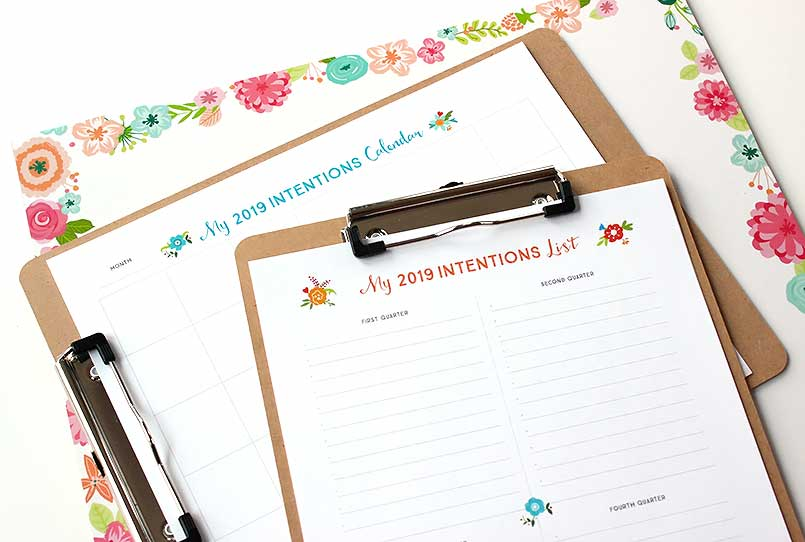 free printable for intentions list and editorial calendar
