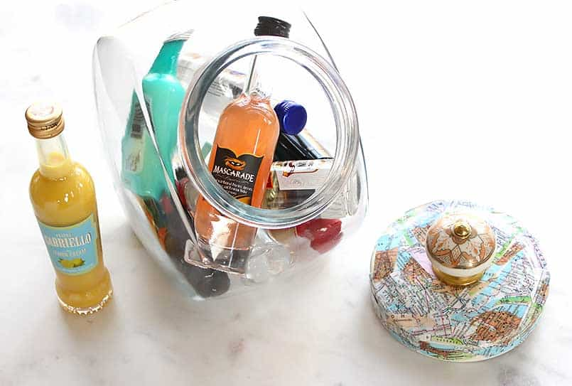 Decoupage Idea for a Glass Storage Jar Lid using Maps