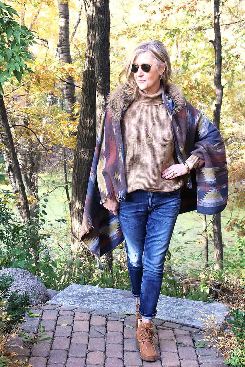 DIY cape with hood in a Fall setting