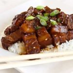 Chinese Braised Pork in Brown Sauce Recipe on a white plate