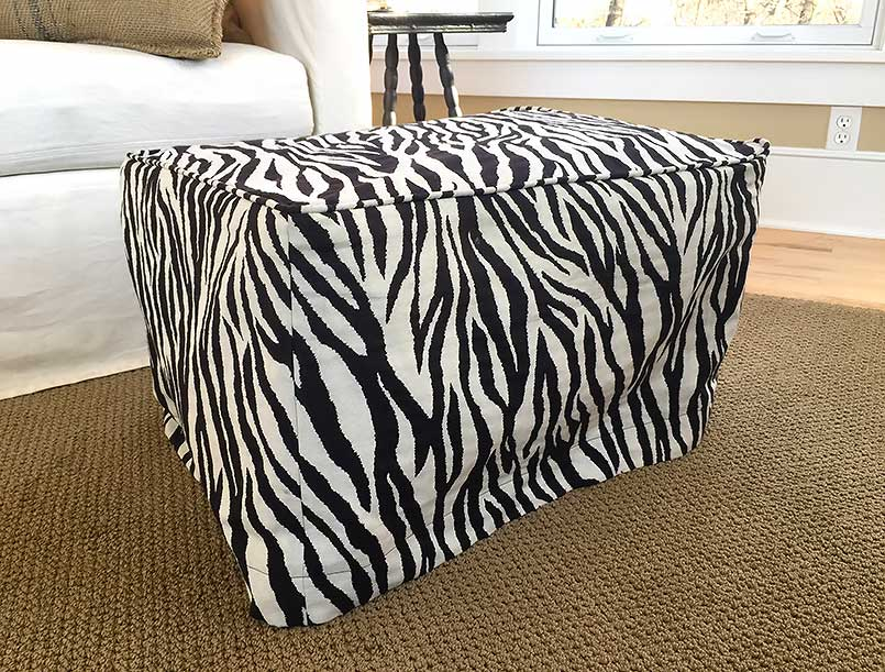 Zebra striped ottoman slipcover