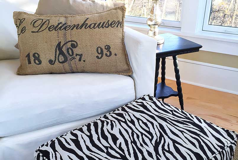 How to DIY your own ottoman or footstool slipcover