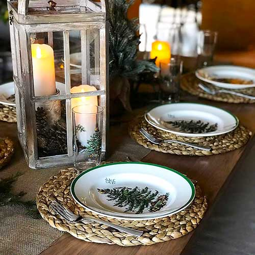 Christmas table setting with Spode china