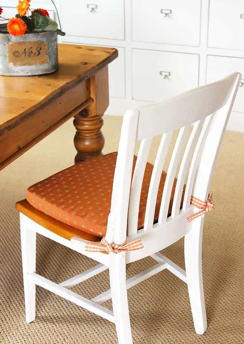 DIY chair cushion in a home office