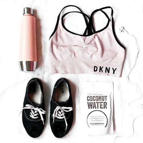 small steps to get healthy, running shoes, water bottle, workout top