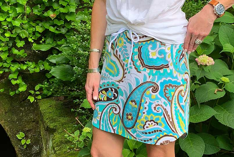 DIY drawstring casual skirt worn in a natural spring garden in Eureka Springs, Arkansas