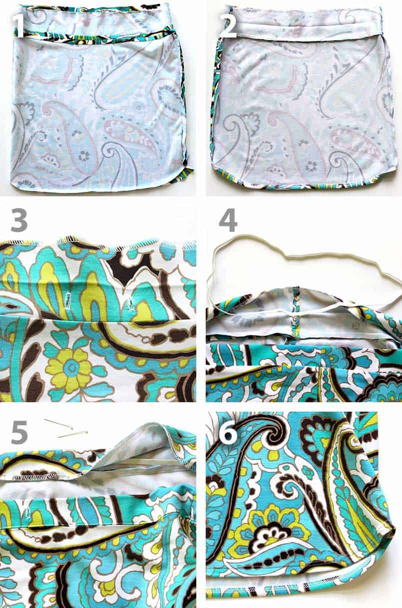 Step-by-step pictures to make a drawstring skirt