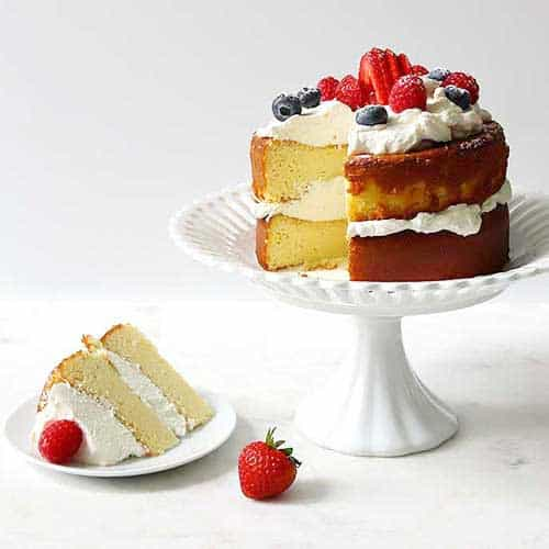 keto pound cake that is sugar-free and low carb on a pedestal
