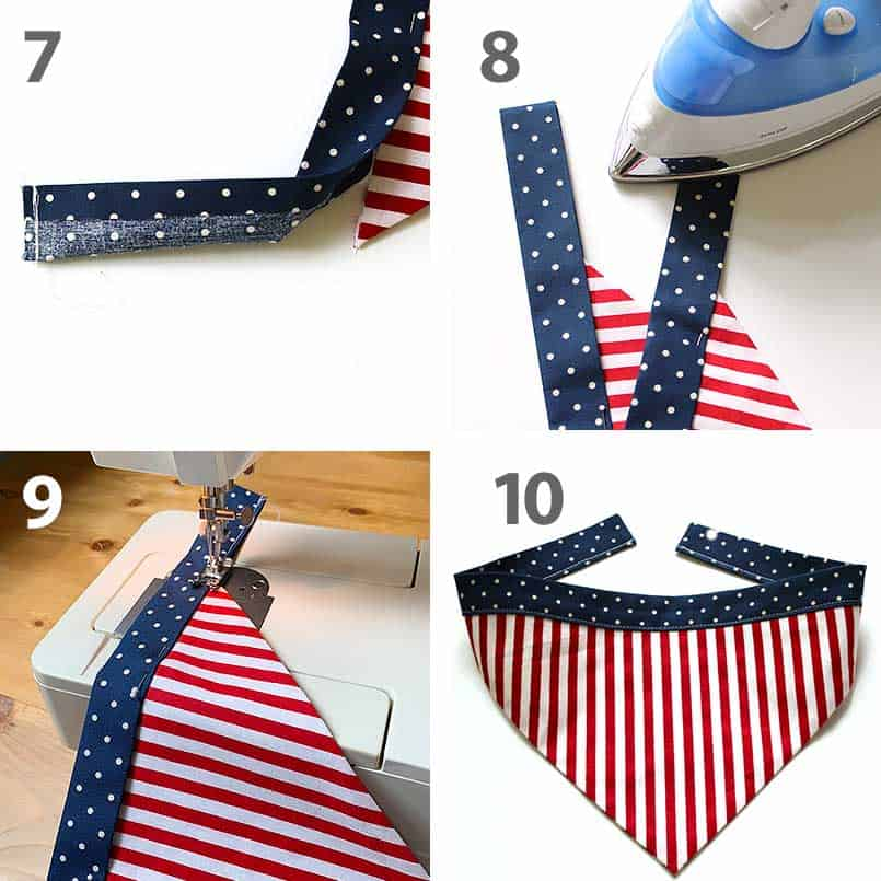 step by step instructions for a DIY dog bandana. A fast and easy sewing craft for kids.