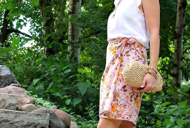 Vogue wrap skirt pattern in a flowered fabric