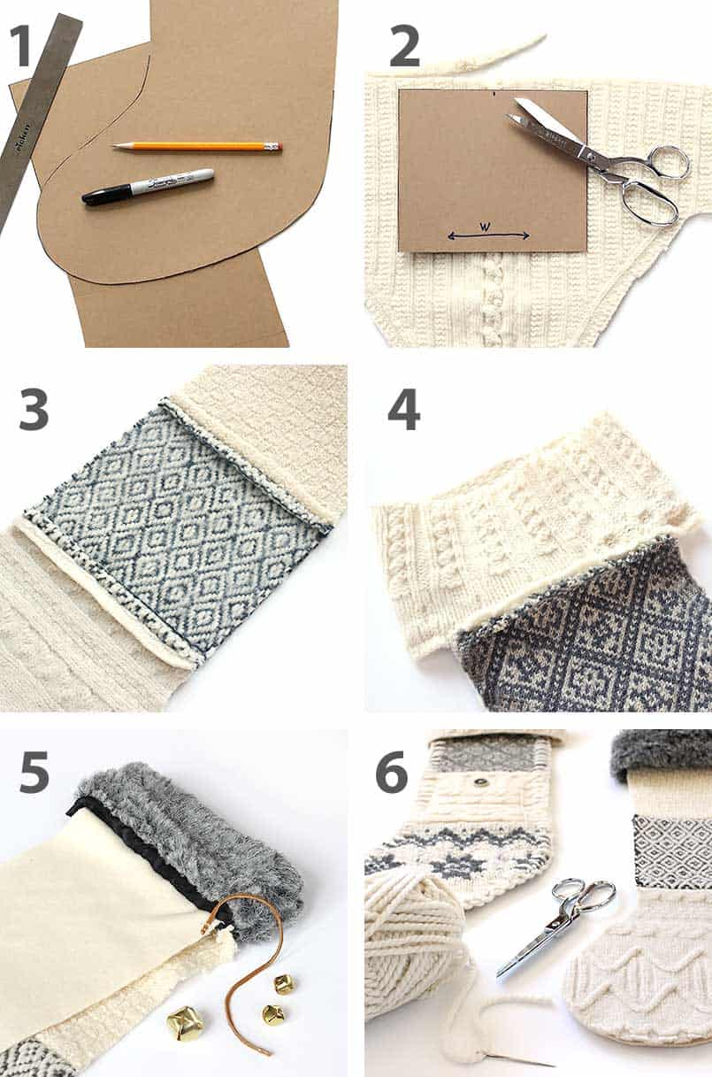 Instructions to make Handmade DIY Christmas stockings made from old recycled sweaters