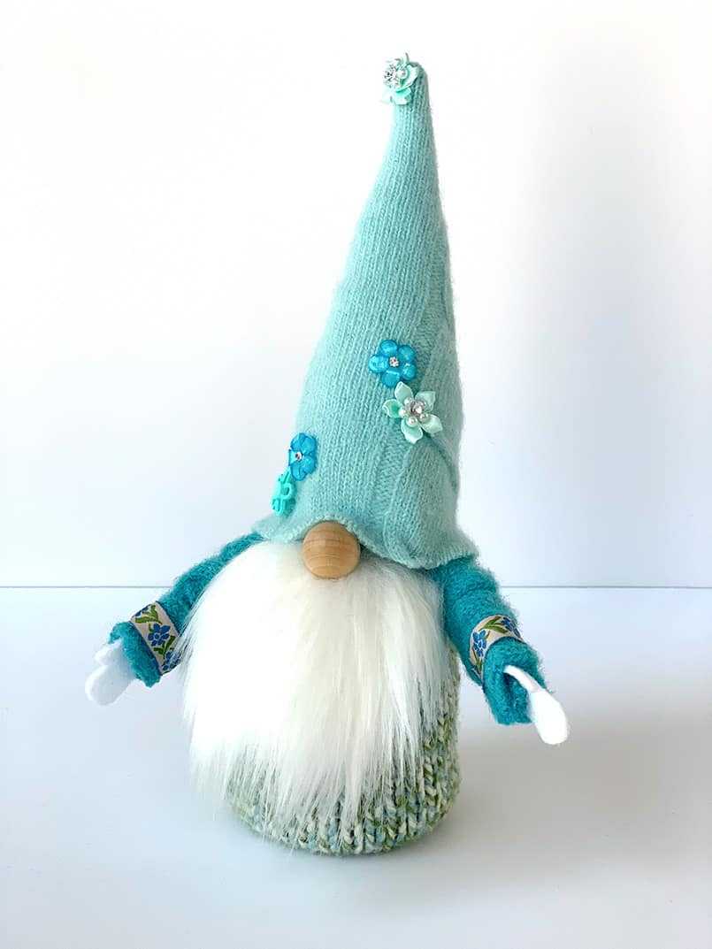 Light blue gnome made from an easy tutorial & free pattern