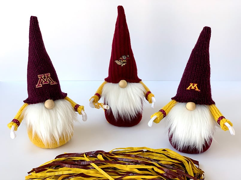 3 DIY University of Minnesota golden Gopher graduate gnomes with a diploma - made from an easy tutorial & free pattern