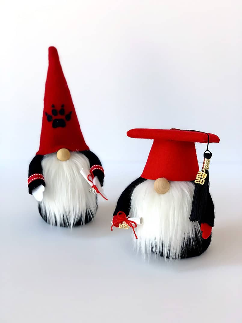 2 DIY graduation gnomes with a graduate diploma - made from an easy tutorial & free pattern
