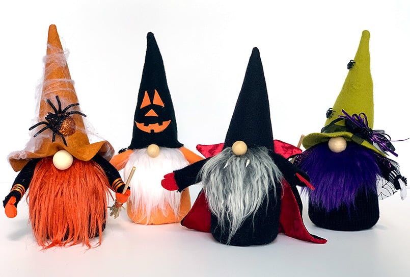 Handmade Halloween Gnomes, witches, a pumpkin and Dracula