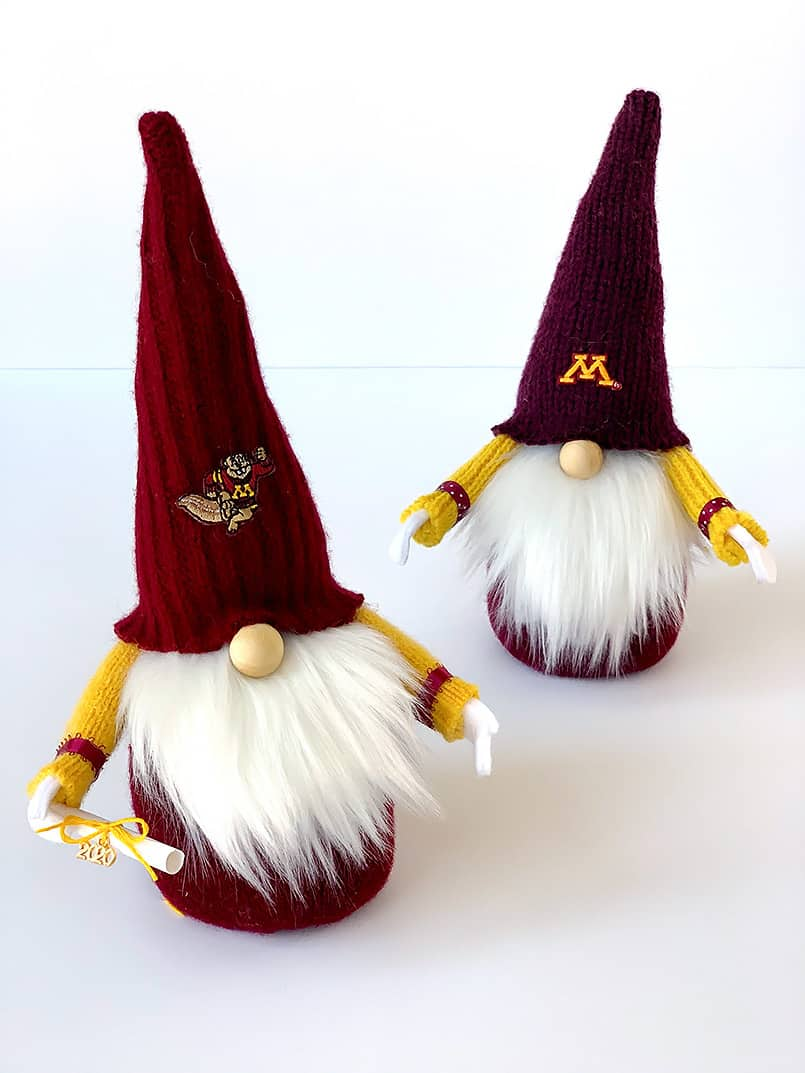 2 DIY University of Minnesota golden Gopher graduate gnomes with a diploma - made from an easy tutorial & free pattern