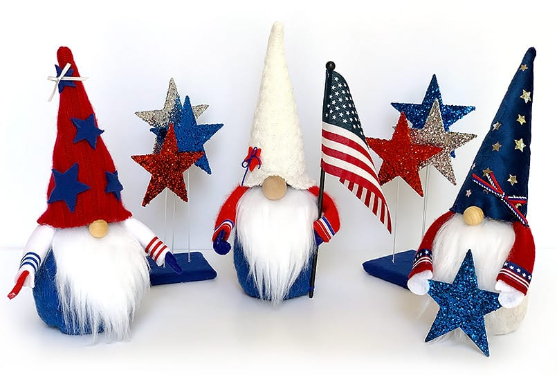4th of July Gnomes DIY. Red, white and blue.