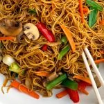 Chinese Lo Mein Noodles recipe in a bowl with chopsticks