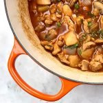 Le Creuset Dutch Oven full of an authentic Chinese Chicken & Potato Stew recipe.