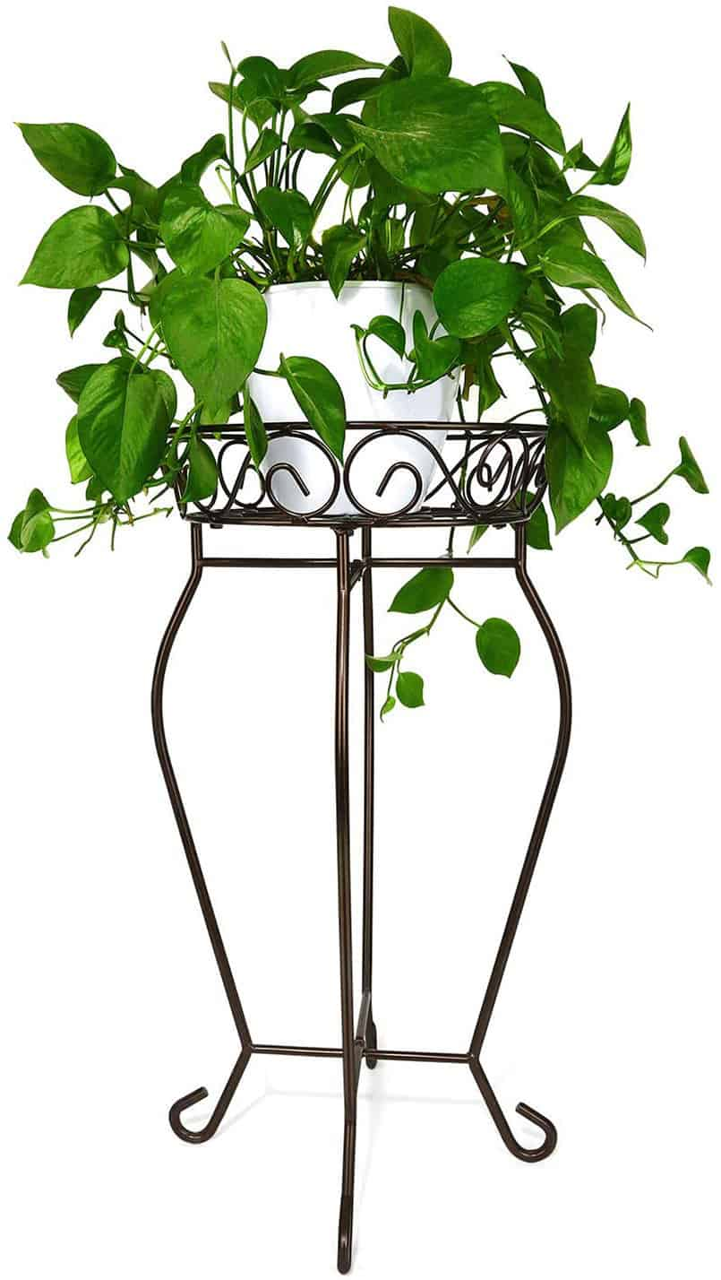 Tall metal plant stand perfect for DIY fake plant decor