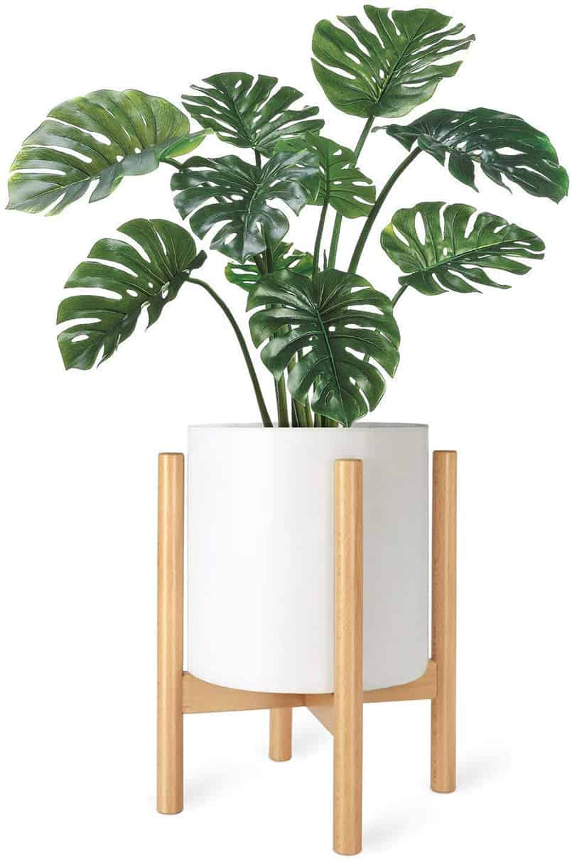 natural wood finished plant stands perfect for DIY fake plant decor