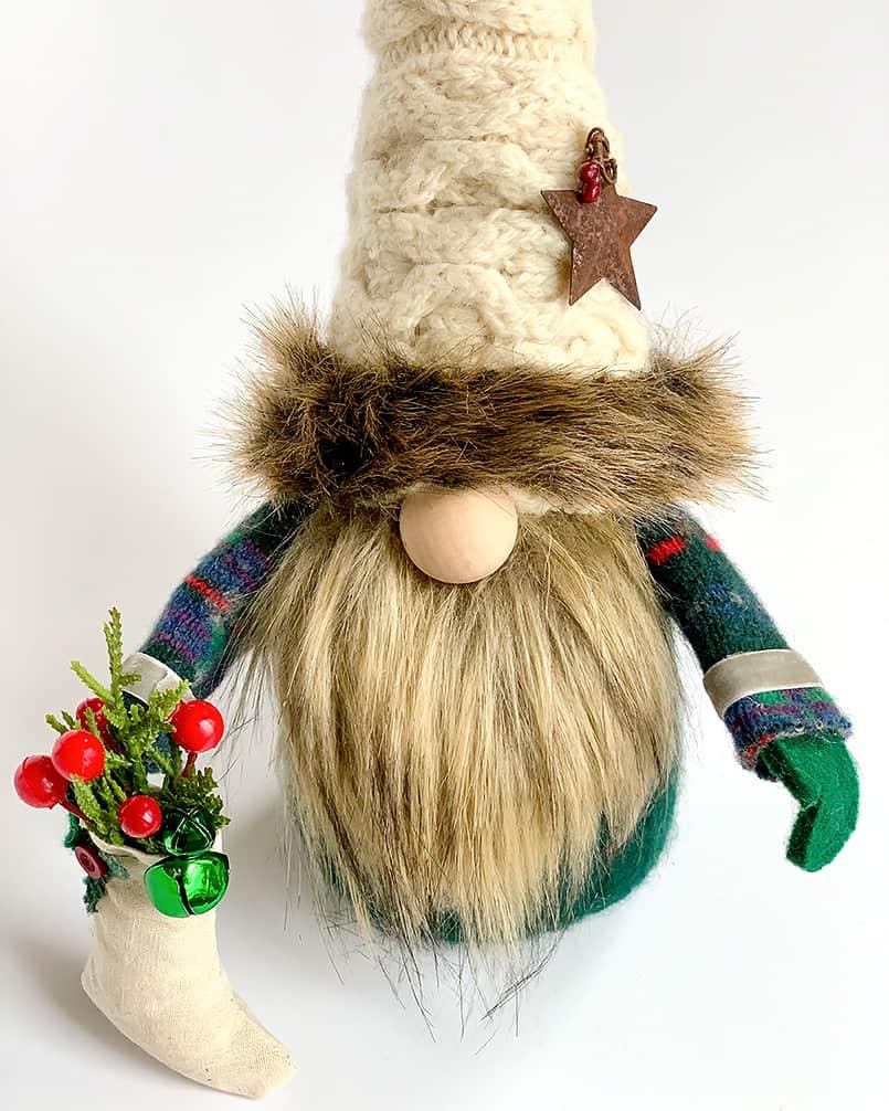 A homemade diy Christmas gnome