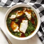 Instant Pot Chinese Dumpling Soup in a white bowl