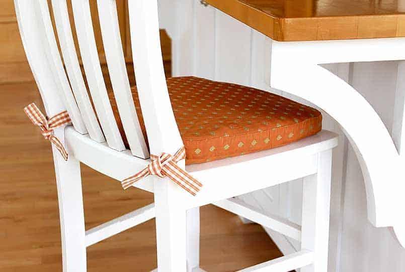 DIY bar stool cushion at kitchen island