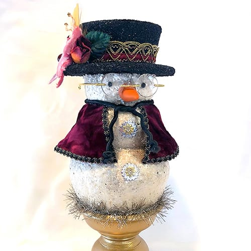 Vintage-inspired hand made snowman decor by Laura Kennedy of