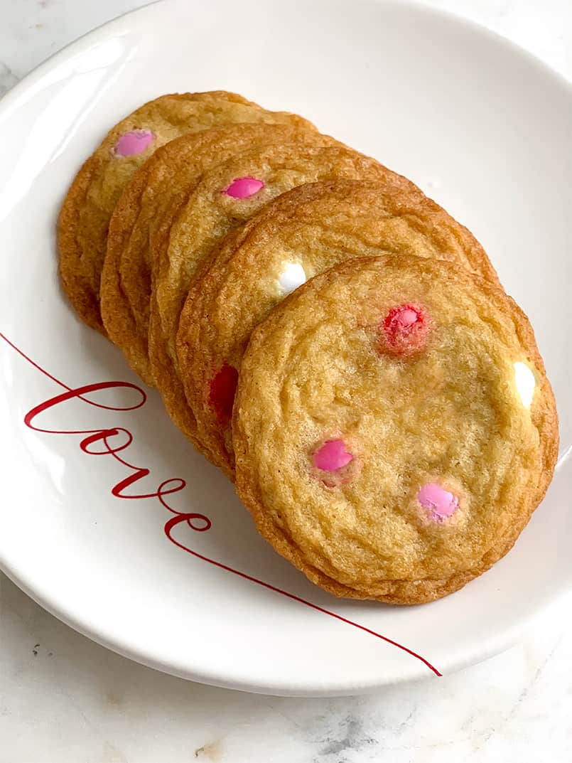 Alex's Best Chocolate Chip Cookies on a LOVE plate