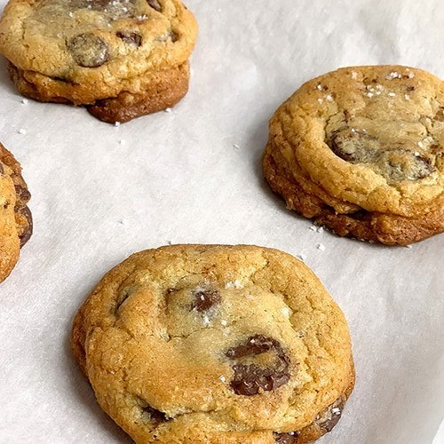 Alex's Best Chocolate Chip Cookies on a piece of parchment