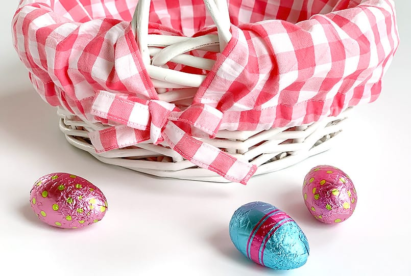 A pink basket liner from a blog post on Easter basket ideas.