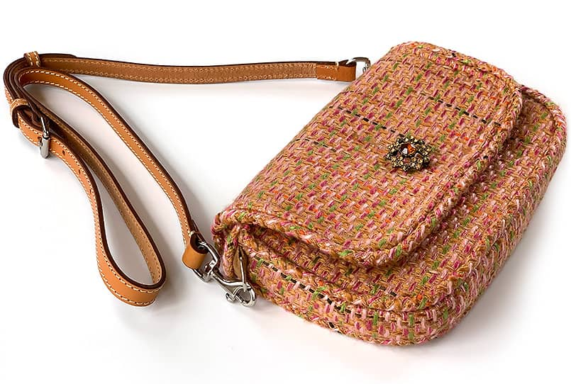 A crossbody purse made with a how to make a purse tutorial.