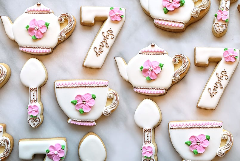 Tea Set Decorated, Royal Icing, Sugar Cookies by La Petite Celebrations Custom Sweets and Treats.