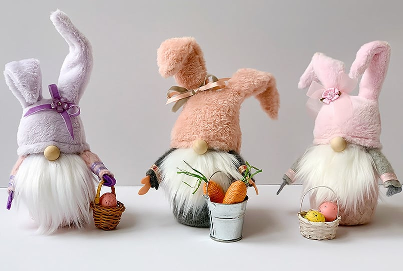 3 handmade pastel colored gnomes from the spring gnome ideas post.
