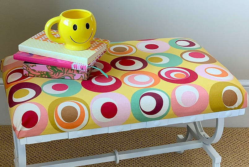 A finished bench cushion cover in the blog post, How to Cover a Bench with Fabric.