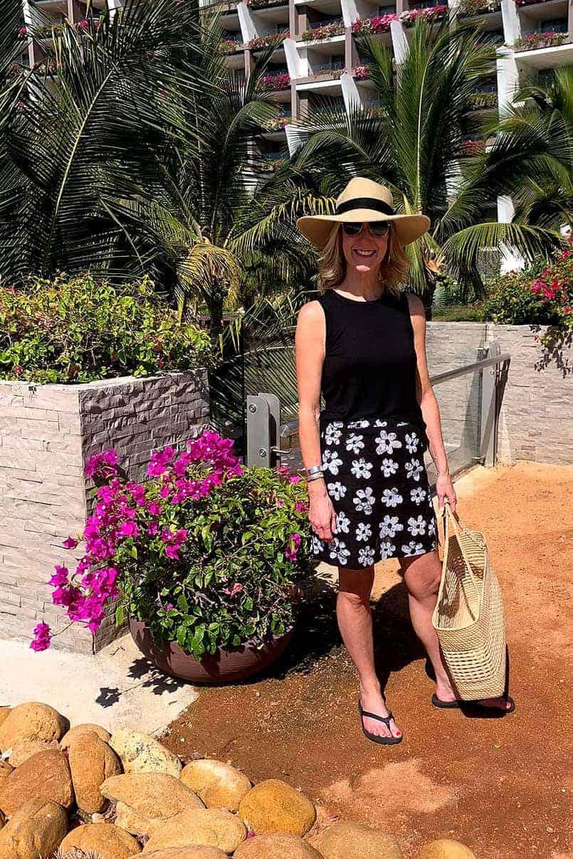 A homemade elastic waist skirt featured in a summer skirt pattern roundup blog post.