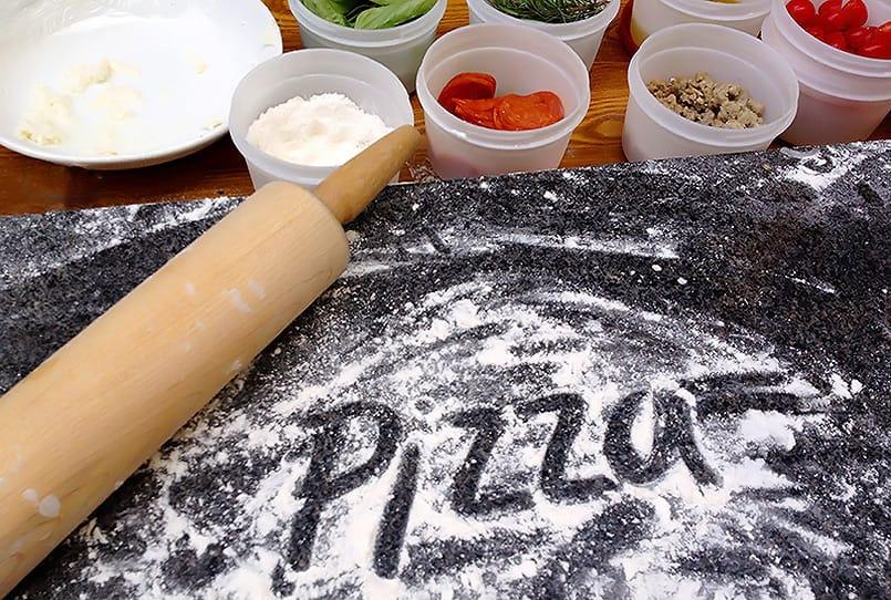 Pizza work area from a blog post about Forno Bravo Authentic Neapolitan Pizza Dough Recipe.