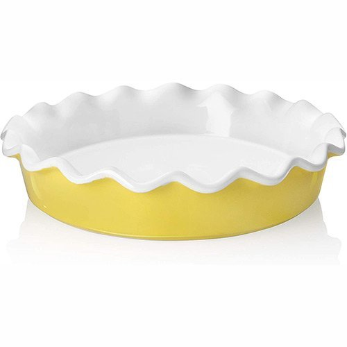 A scalloped yellow pie plate.