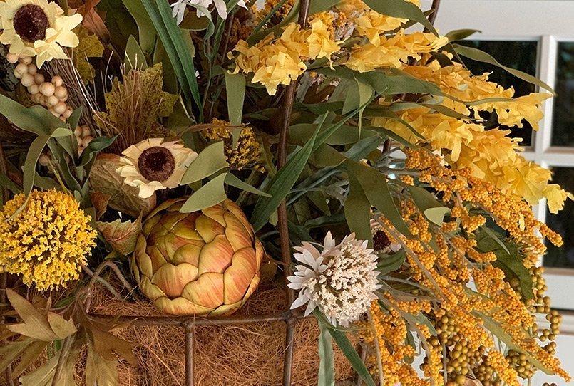 An artificial hanging flower basket.